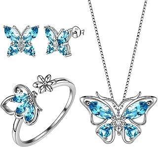 Butterfly Jewelry Women 925 Sterling Silver Butterflies Necklace/Earrings/Rings Wedding Gift