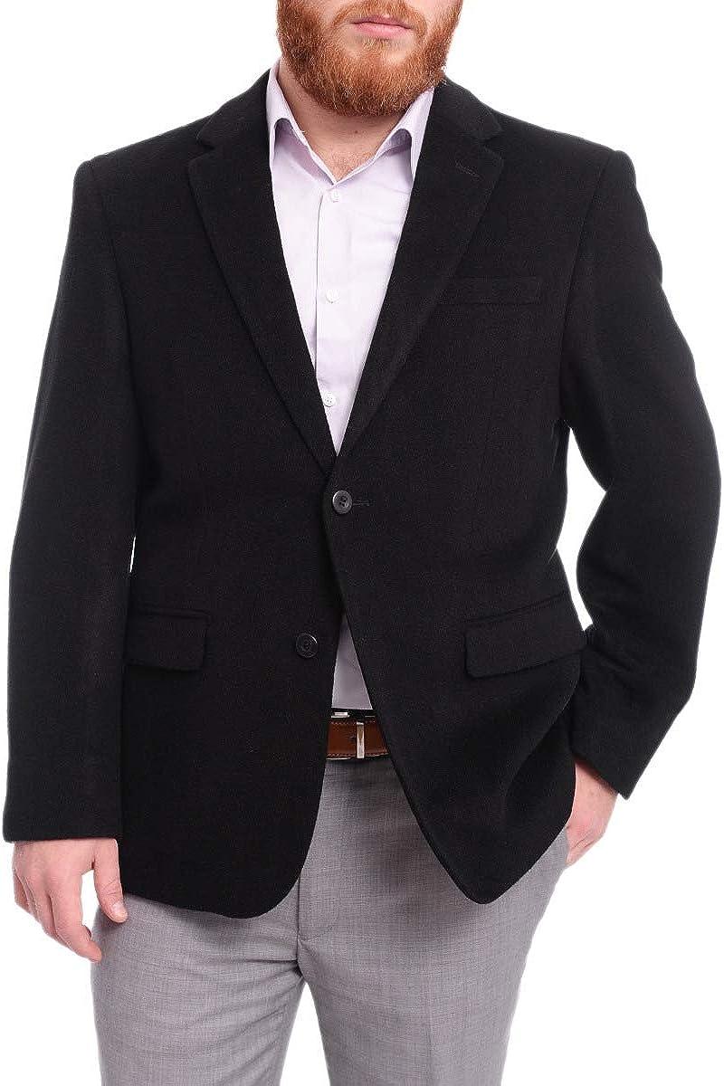 Prontomoda Classic Fit Solid Black Lambs Wool Cashmere Blend Blazer Sportcoat