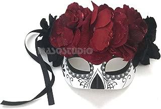 MasqStudio Beautiful Half Face Dia de Los Muertos Sugar Skull Masquerade Flower Mask Day of The Dead Wear or Deco