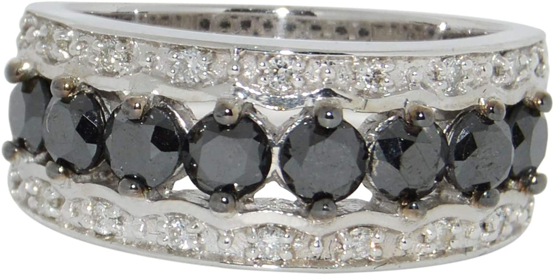 Silver Max 85% OFF and Platinum 1.56 Carat Diamond White Black Topics on TV Ring TDW