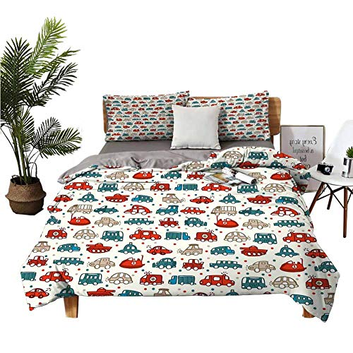 Modern Duvet Cover Cars,Cheerful Baby Boy Play Things in Kids Doodle Style with Many Different Vehicles,Teal Scarlet Tan Best Modern Style Bed Quilt Bed Cover for Men Women/California King