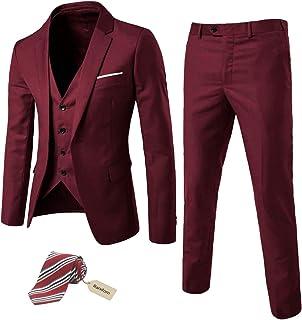 MY`S Men`s 3 Piece Slim Fit Suit Set, One Button Solid Jacket Vest Pants with Tie