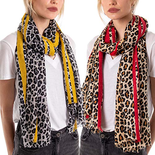 Leopard Print Scarves for Women Animal Print Scarfs Long Neck Scarf Mustard Red Christmas Shawls & Wraps