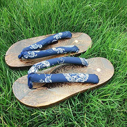 OHHCO Sandalias japonesas tradicionales zuecos geta hombres zapatillas de madera al aire libre sandalias de playa kimono SamuraiAnime Cosplay Paulownia zapatos planos color 5_40 (color 5, tamaño: 42)
