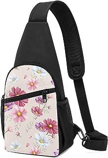 Bolso de hombro con patrón de flores dibujado a mano, mochila ligera para el pecho, bolsa cruzada, para viajes, senderismo...