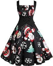 Iusun Women's A Line Dress Christmas Sleeveless Xmas Santa Series Party Vintage Hepburn Skirt