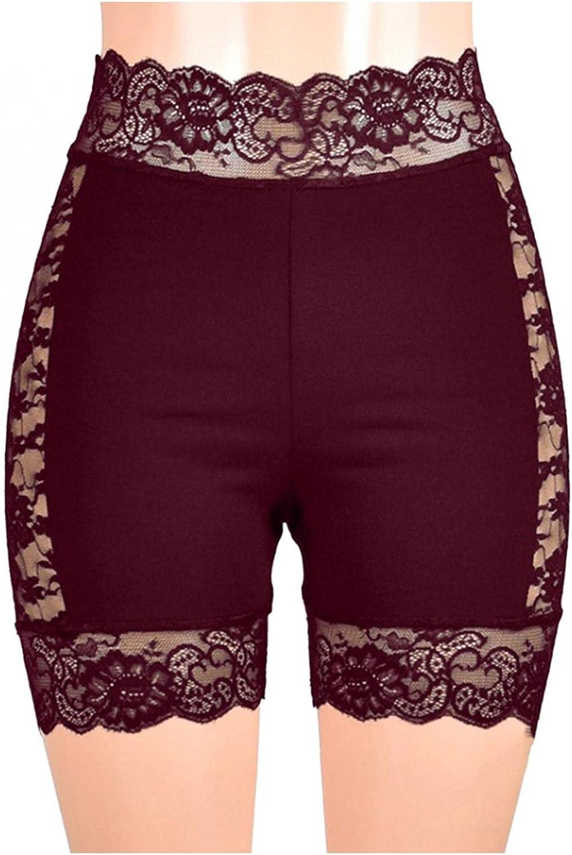 Women Underwear Lace Trim Shorts Hot Pants High Waist Tummy Control Soft Boxer Briefs Breathable Ladies Panties