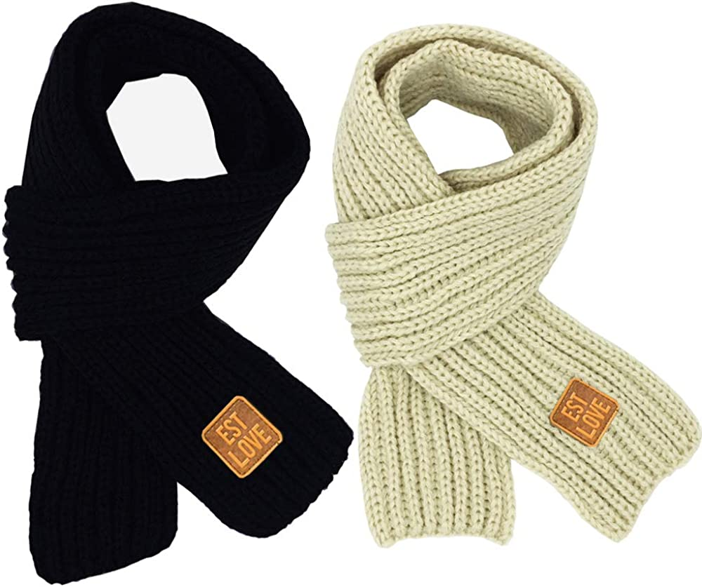 Amazon Com 2 Ps Boys Scarf Toddlers Kids Girls Winter Knitted Warm Scarves Neck Warmer Black Beige Clothing