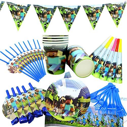 BETOY Partyzubehör Set Geburtstag Party Set 54 Stück Partyzubehör Set mit Banner Teller Becher Tischdecke und Gabel für Kinder Geburtstag Dekoration