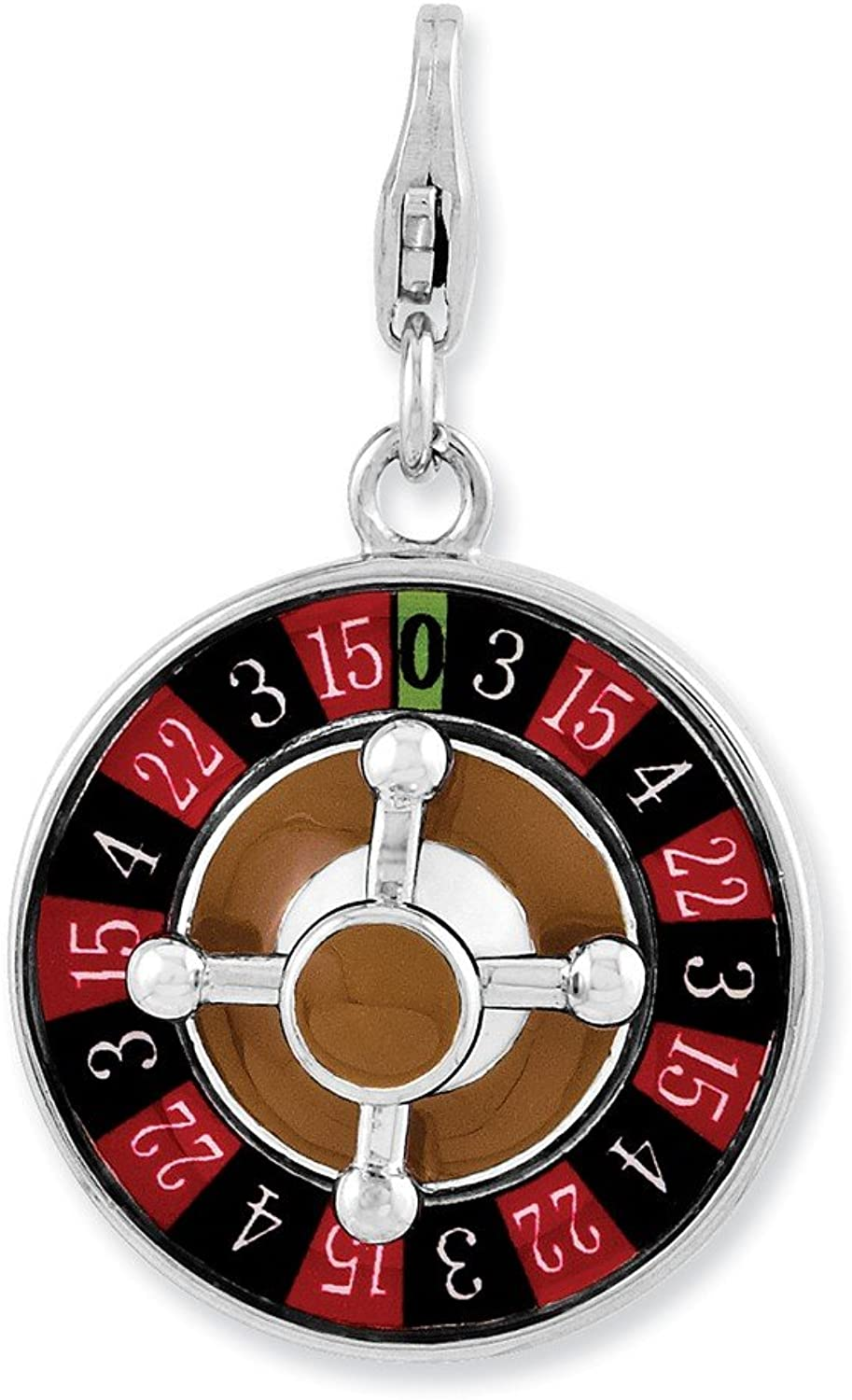FB Jewels Solid Sterling Silver Enameled 3D Roulette Wheel W Lobster Clasp Charm
