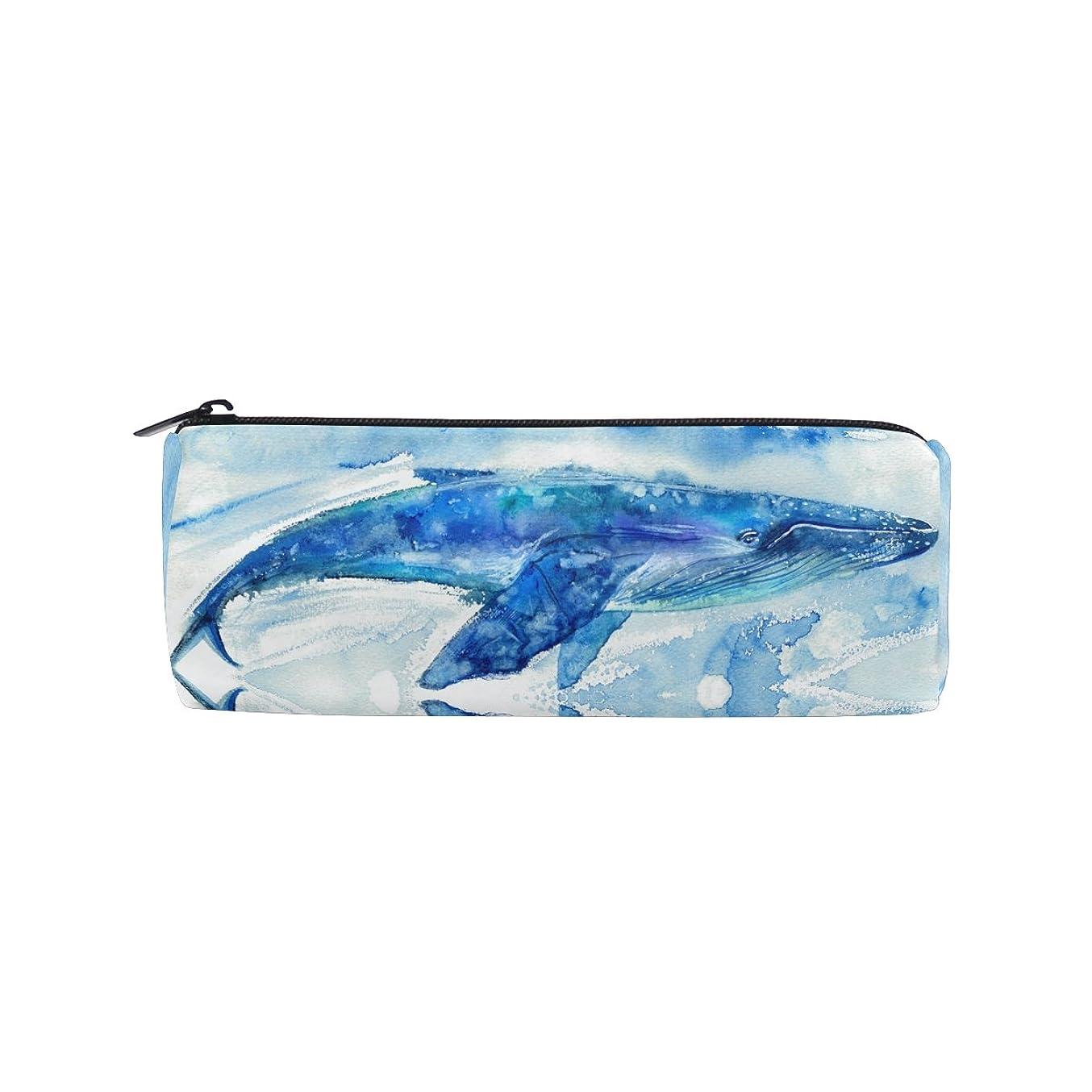 稼ぐ不実アッティカスAOMOKI ペンケース ペンポーチ 筒型 化粧ポーチ 多機能バッグ 男女兼用 ペンバッグ 化粧バッグ おしゃれ ブルー ホエール 水彩 クジラ