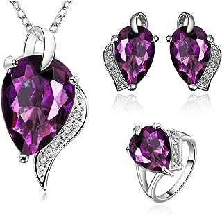 NYKKOLA–platino placcato set gioielli da sposa CZ ametista Teardrop collana orecchini anello