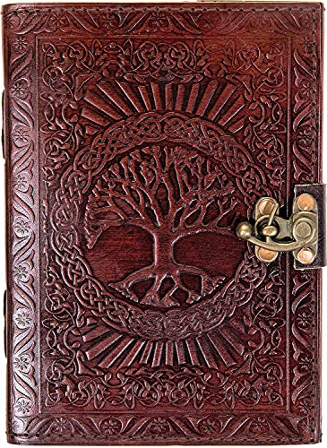Urban Leather Journal - Small Tree of Life Diary - Brown handmade vintage sketchbook, writing book, unlined