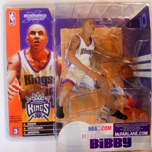 NBA 3 Mike Bibby Sacramento Kings White Jersey Action Figure