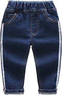 HOSD Ropa para niños Jeans elásticos a Rayas para niños Pantalones para niños niñas Pantalones Largos de Mezclilla Casual ...
