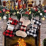 Medias Navideñas para Perros, 3 Piezas Calcetines Navideños Grandes con Diseño de Hueso de Perro, Medias de Navidad Bolsa de Regalo, Adornos Navideños para Pared, Chimenea, Árbol de Navidad