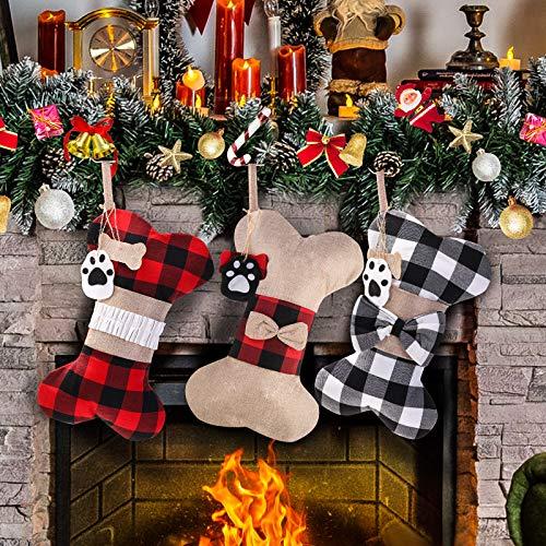 Yostyle Pet Dog Christmas Stockings Set of 3,Buffalo Plaid 18