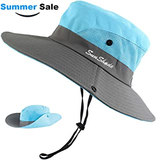 Women Ponytail Sun Hat, UPF 50+ UV Protection Summer Cap Adjustable Bucket Hat Wide Brim Adventure Cowboy Hat Waterproof Foldable Bonnie Hat, Hiking Beach Fishing Safari Hat for Women