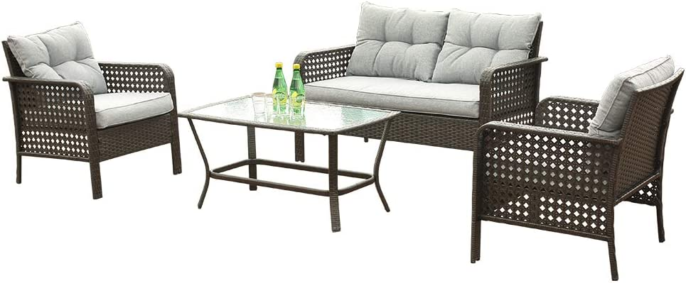 4-piece outdoor wicker patio chairs rattan Free shipping set furniture High quality new