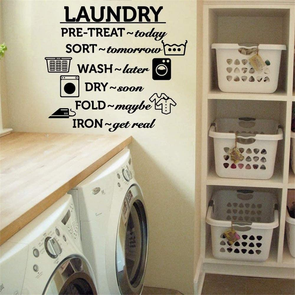 Amazon Com Removable Vinyl Mural Decal Quotes Art Laundry Room Wash Dry Fold Iron Quote Home Decor Living Room Decoration Home Kitchen