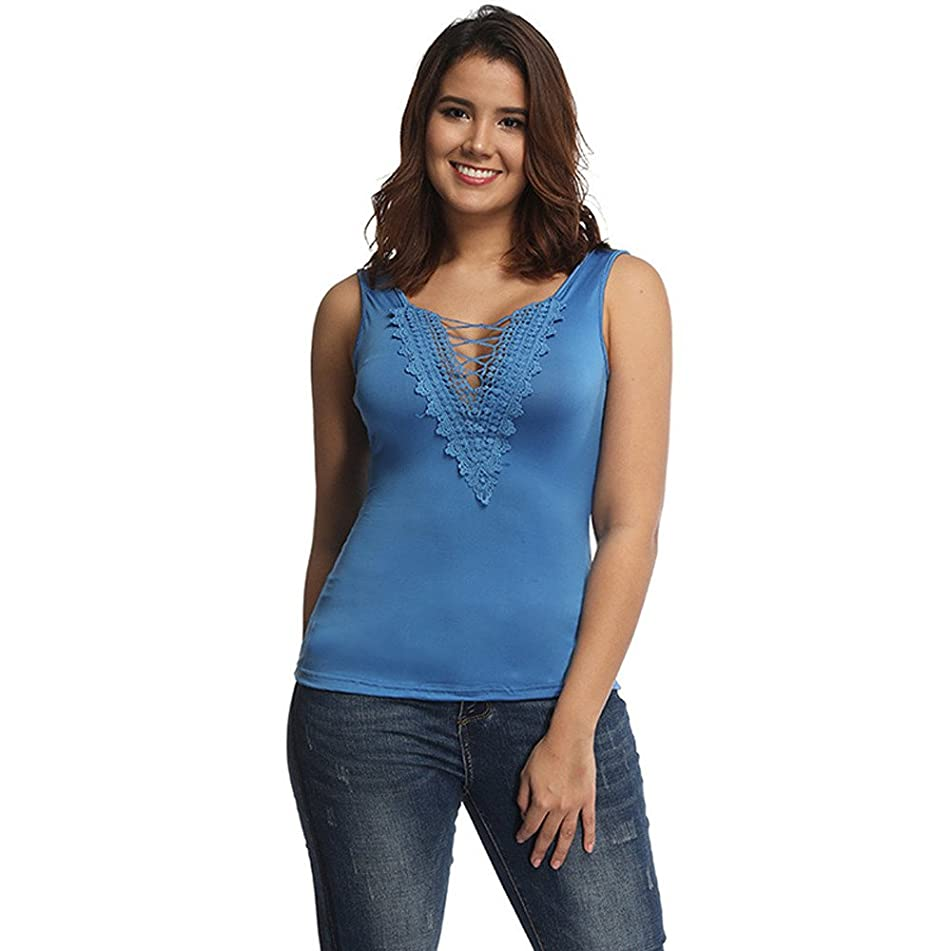 Eaktool T Shirts for Women,Fashion Women Casual Lace Patchwork Top Blouse Sleeveless V Neck T-Shirt