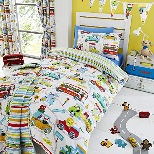 Happy Linen Company Kids Boys Girls Zoo Escape Animals White Reversible Single Bedding Duvet Cover Set