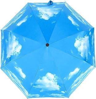 JOYS CLOTHING 空のパターン、30%オフ、傘、アンチUV、風、太陽、日よけ、傘旅行用傘防風用、黒接着剤アンチUVコーティング、女性用コンパクト折りたたみ傘