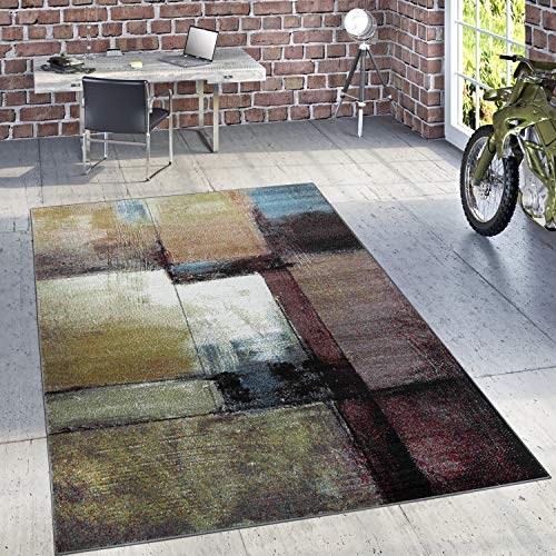 Paco Home Designer Teppich Modern Wohnzimmer Ölgemälde Abstrakt Rost Optik In Schwarz Gelb, Grösse:160x220 cm