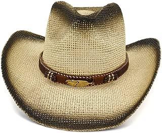 LiWen Zheng 2019 Spray Paint Cowboy Straw Hat Outdoor Seaside Beach Hat Men's Visor Leaf Metal Decoration Elegant Women Big Sun Hat