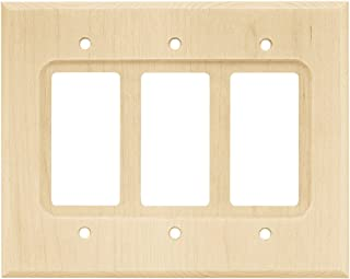 Franklin Brass W10848-UN-C Square Triple Decorator Wall Plate/Switch Plate/Cover, Unfinished Wood