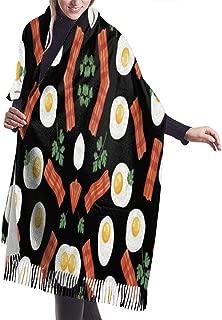Eat Black Bacon And Eggs Pashmina Shawls Wraps Ultra Soft Cashmere Scarf Unisex Lightweight Scarfs