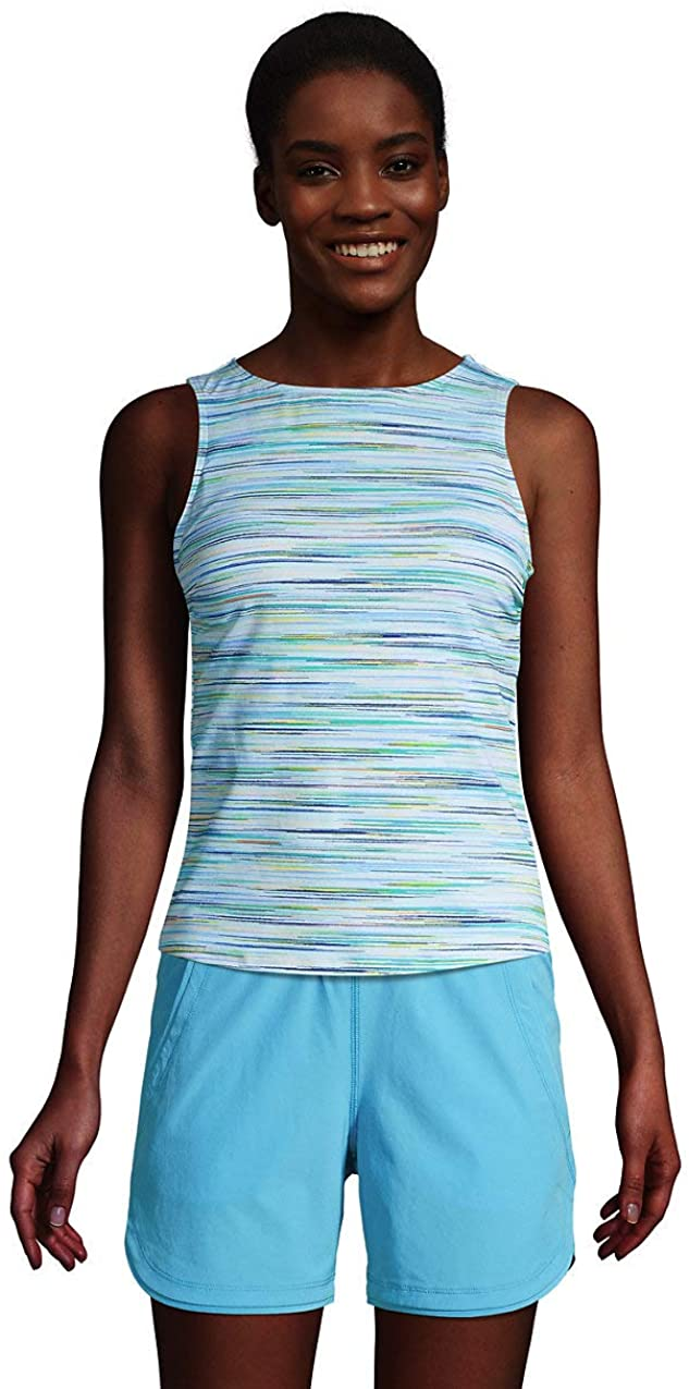 Lands' End Women's Mastectomy Chlorine Resistant Square Neck Tankini Top Swimsuit Adjustable Straps