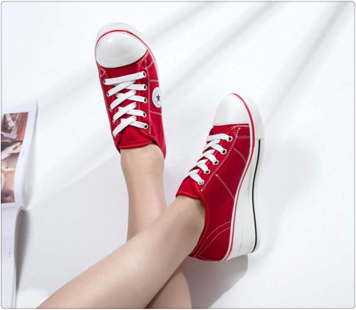 SSLOPY& 2019 Autumn White Women Sneakers Plus Size 41 42 Platform Wedge shoes Vulcanized shoes Woman Lace Up Female Casual Canvas shoes 6861 Red 6