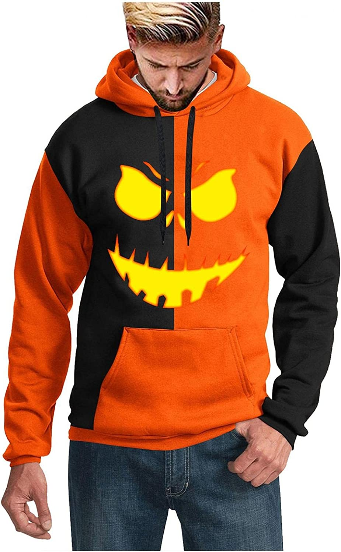 Huangse Halloween Mens Fashion Flame Pumpkin Sweatshirt Color Block Long Sleeve Drawstring Pullover Top Autumn Sportswear