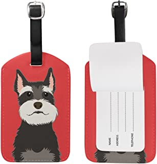 My Daily Schnauzer Dog Luggage Tag PU Leather Bag Tag Travel Suitcases ID Identifier Baggage Label