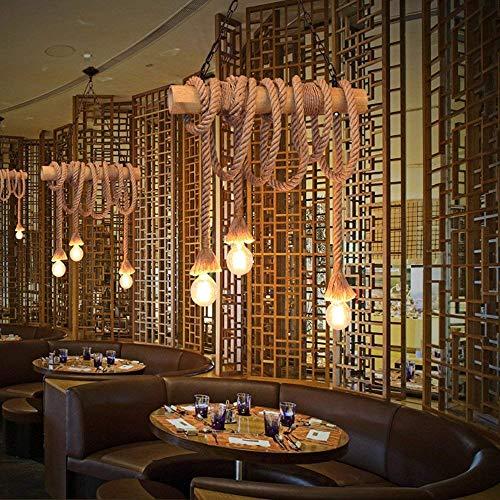 DEJ industriële vintage hanger kroonluchter lichtnatuurlijke hennep touw bamboe stijl plafond verlichting decoratieve armatuur met 3 lampen