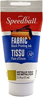 Speedball 003583 Fabric Block Printing Ink – Premium Fabric Block Printing Ink 2.5 FL OZ (75CC), Metallic Gold