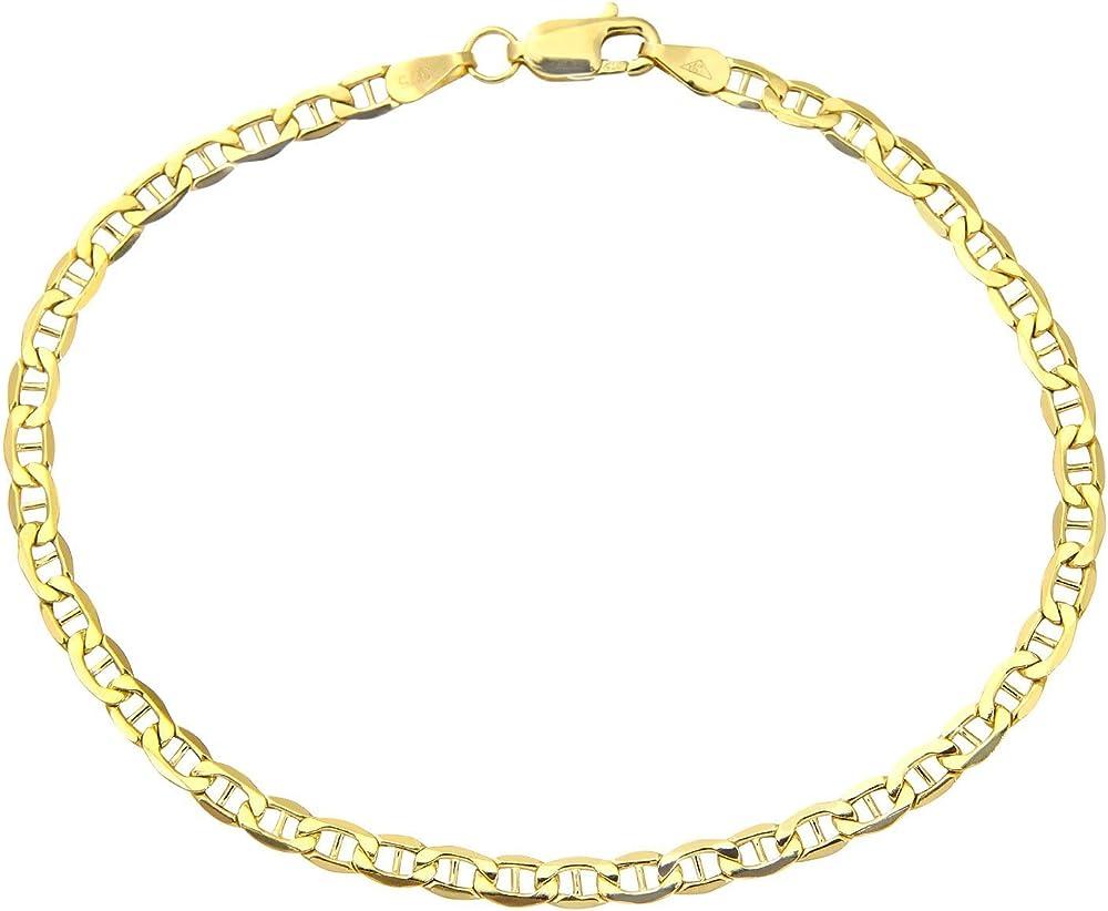 Prins jewels gioielleria bracciale in oro giallo 585 da 14 carati, design italiano, maglia marinara piatta Marinerarmband 14