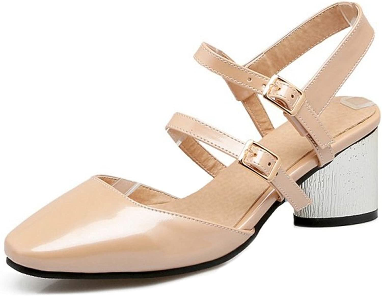 Smilice Women Trending Plus Size Sandals Closed Toe Buckle Strap shoes for Wedding & Party