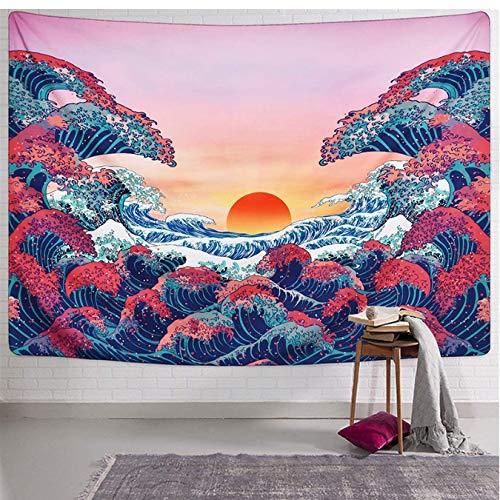 FEJK Ocean Wave Tapestry Sunset Tapestry 3D Great Wave Tapestry Tapiz para habitación 150 * 200 cm