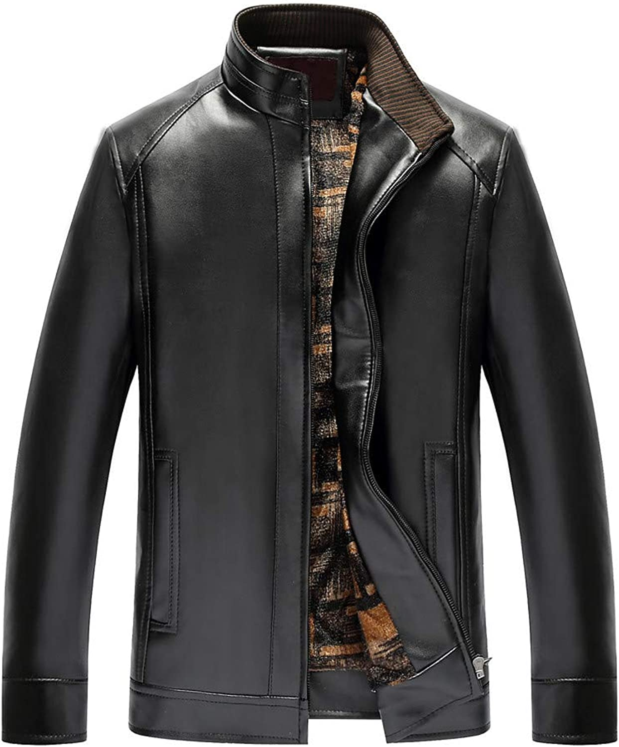 Mens Windbreaker,Men's Pure color Stand Collar Imitation Leather Business Coat,Jacket PU Leather Men
