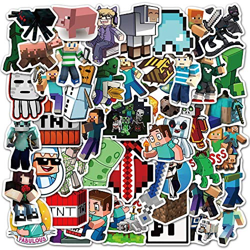 Potota Minecra_ft Stickers| 50 Pack |Vinyl Waterproof Stickers for Laptop,Bumper,Water Bottles,Computer,Phone,Hard hat,Car Stickers and Decals,(Minecra_ft-50)