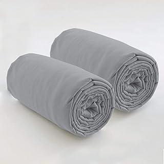 Les Ateliers du Linge – Lot de 2 draps Housses 80x200 cm – pour Lits à sommier articulé - Tissu Lavable 100% Coton – Coule...