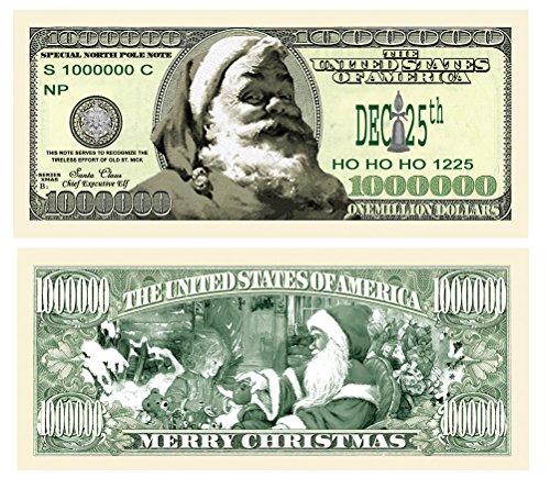 Set of 10 Bills- Santa Bucks Claus Novelty Million Dollar Bills