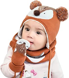 DORRISO Cute Small Foxs Caps Scarf Set Autumn Winter Kids Newborn Baby Caps and Scarf Girls Boys Knitted Warm Comfortable ...
