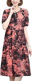 Women Casual Loose Plus Size Dress Floral Vintage Short Sleeve Dress غير رسمي (Color : Red, Size : L)