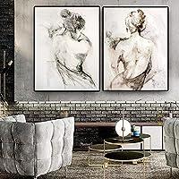 抽象黒白人女性バックキャンバス絵画少女ポスターとプリントスカンジナビアの壁アート写真寝室の家の装飾50x70cmx2フレームレス