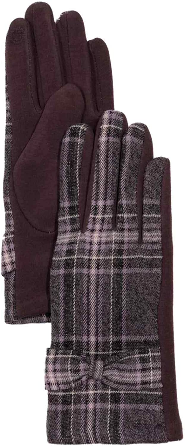 Womens Purple Plaid Bow Stretch Fit Texting & Tech Touchscreen Gloves