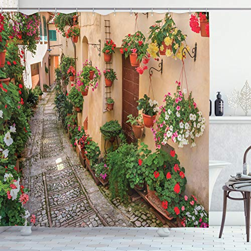 Ambesonne Tuscan Decor Collection, Tuscan House with Rustic Wooden Door and Flowers Image, Polyester Fabric Bathroom Shower Curtain Set, 84