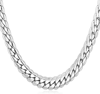 """U7 Platinum/18K Gold Plated Necklace with 18K Stamp Men Jewelry 4 Colors 6 MM - 9MM Wide Snake Chain Necklace,18""""-32"""""""